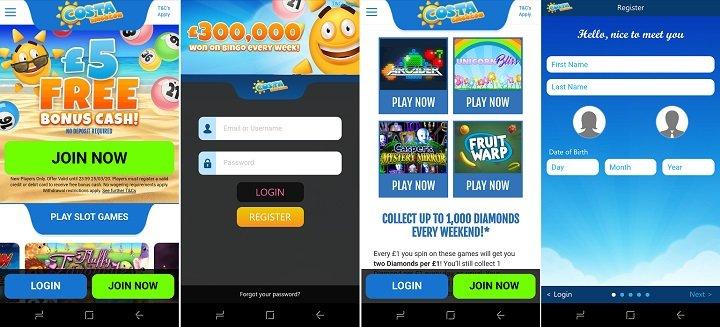 Review of Costa bingo mobile app