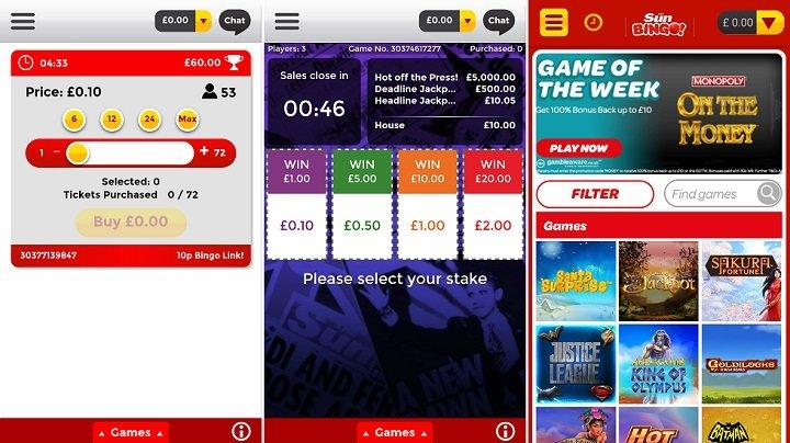 Games on Sun bingo app
